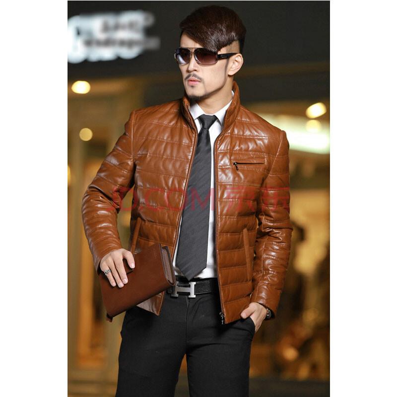 男士红棕色皮衣搭配_男士机车皮衣搭配