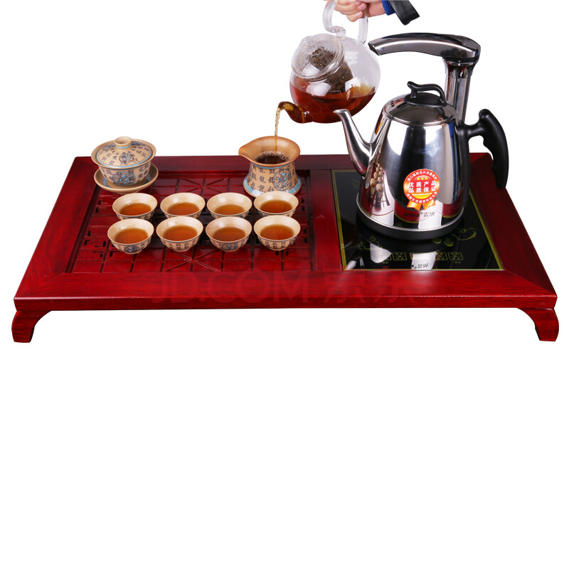 雷纳电水壶茶具套装 实木茶盘茶具不锈钢自动上水电水壶 xd-127-02款