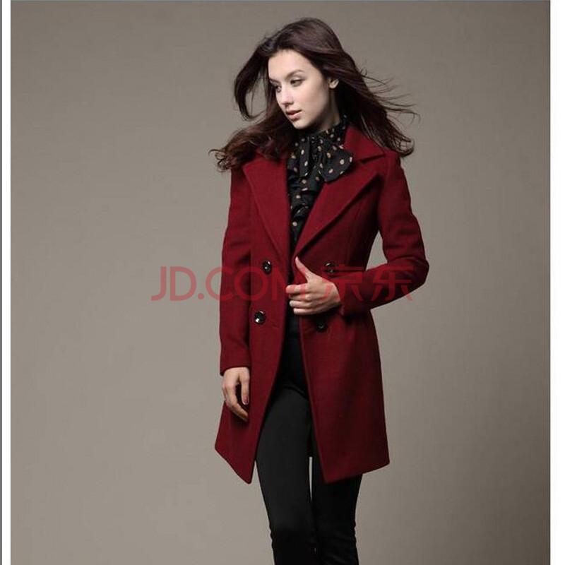 长款大衣c6882ll 酒红色