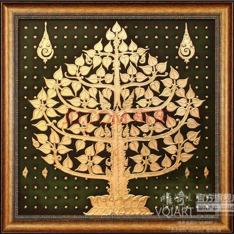博艺佳【金菩提树】家居装饰画 纯手绘油画欧式花卉油画 高档有框画