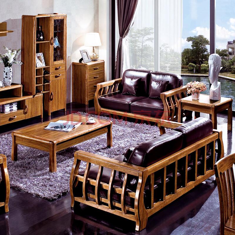 实木沙发组合 全实木客厅沙发 中式沙发 真皮 布艺 沙发 单人位布艺
