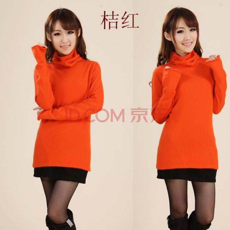 2014新款女式羊绒衫堆堆领喇叭袖貂绒衫 加厚毛衣羊毛图片