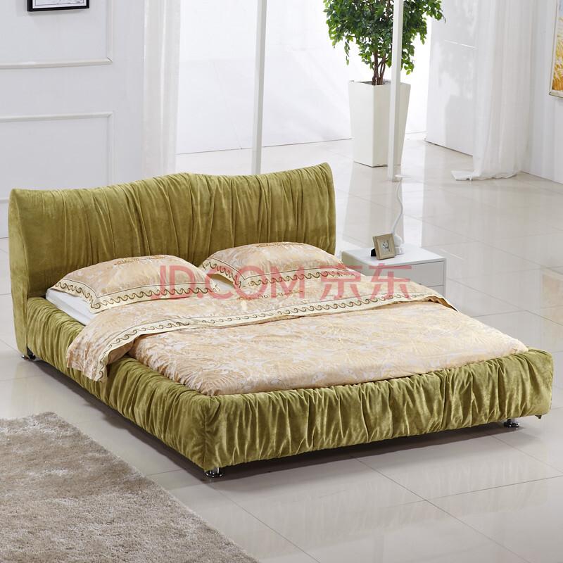 妃梦缘 双人布艺床可拆洗 环保面料席梦思 清新时尚 环保床多色可选