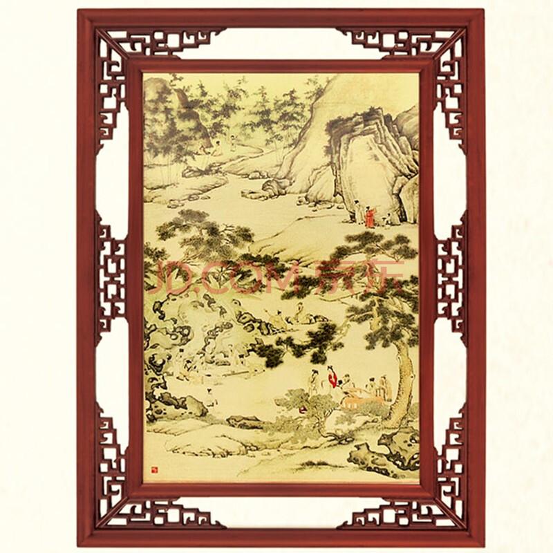 铜箔画 雅贤招财纳福客厅风水装饰画仿古木框 高清图片
