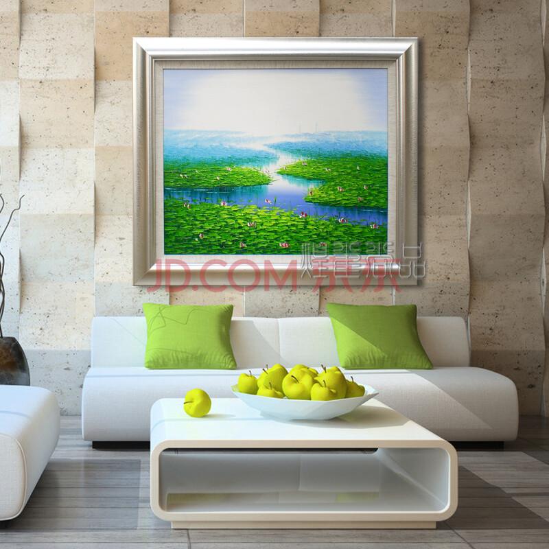 煌巢尚品 风景油画 客厅装饰画 手绘四季荷塘壁画 银色实木框-春天
