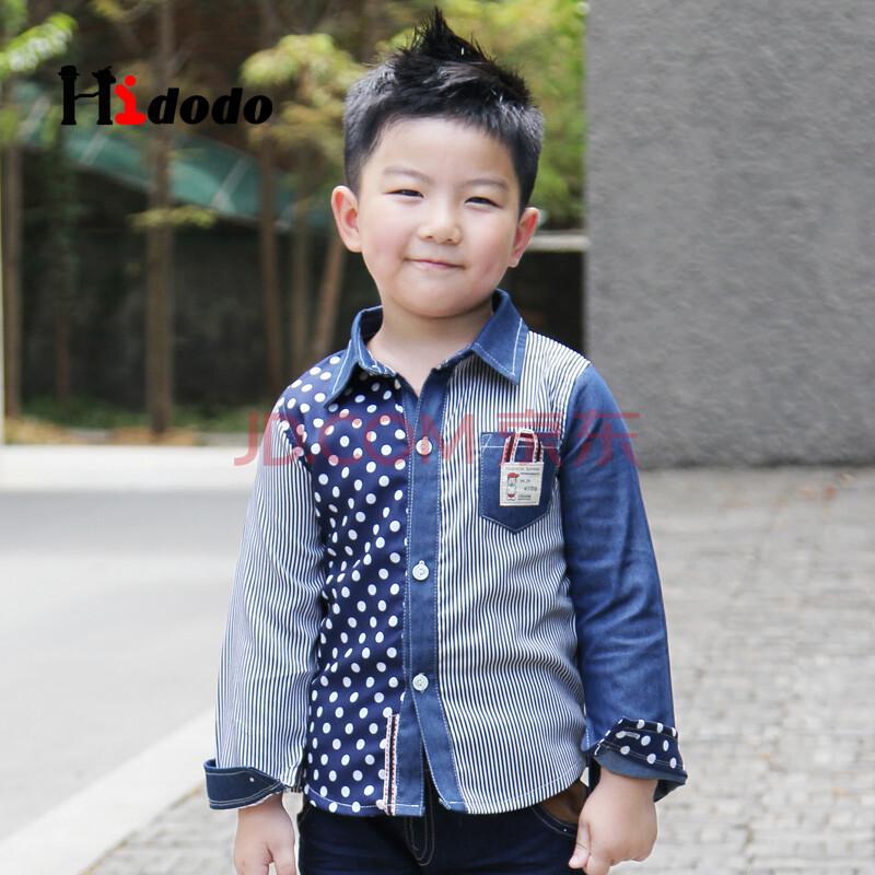 海多多/hidodo童装春冬季儿童服装圆点条纹拼接衬衫
