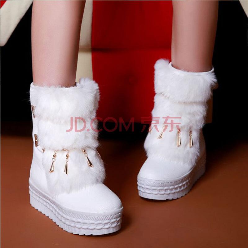 白色特厚底棉靴子图片