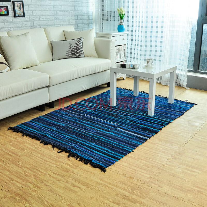 纯棉环保布条彩条编织地毯地垫