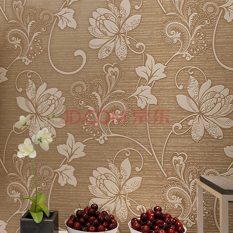 洛可可壁纸 3d简约欧式超厚无纺布墙纸客厅电视背景墙图片
