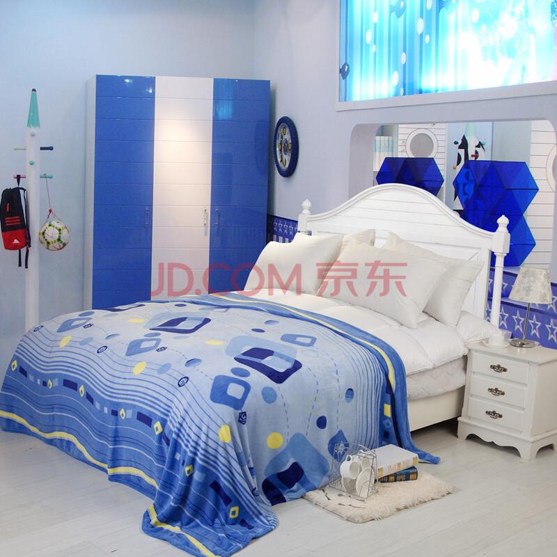 倩珀莱家纺 四季毯 法莱绒 毯子毛毯 床上用品卡通舒适毛毯 蓝色格调