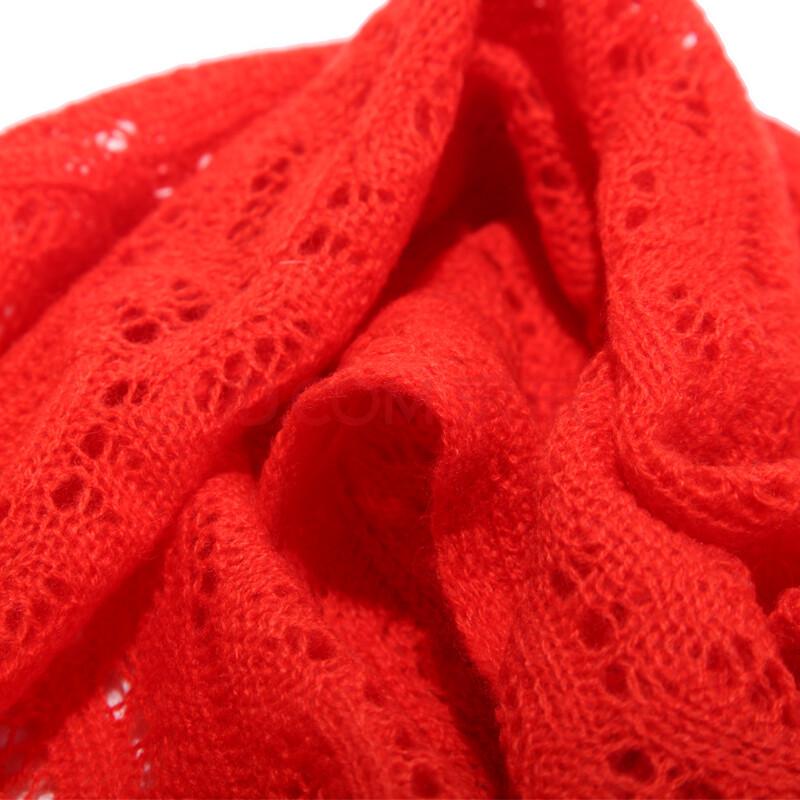 凯米尔酷 新款时尚钩花针织围巾围脖 环形纯羊毛围巾sww496-2 橘红
