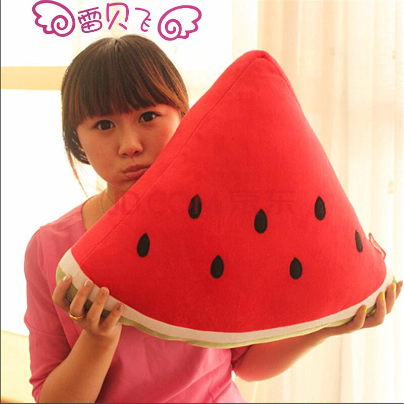 雷贝飞 可爱水果抱枕 创意卡通桔子苹果靠垫 西瓜毛绒