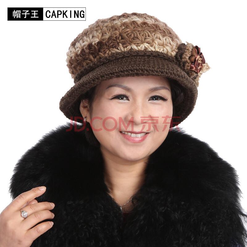 中老年帽子老人帽子 女士毛线帽