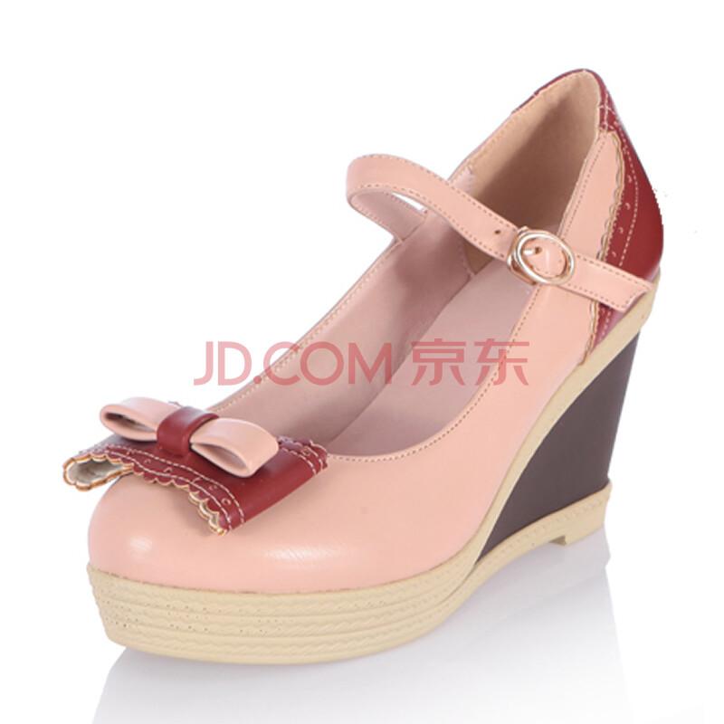 鞋甜美蝴蝶结扣带高跟鞋舒适厚底花边圆头女鞋