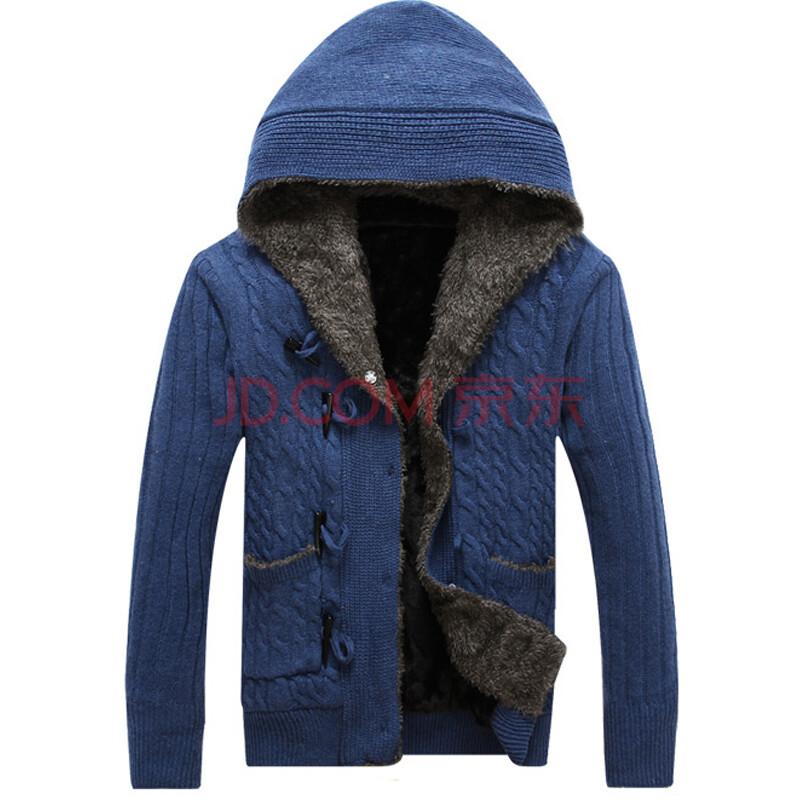 2013秋装新上男士针织开衫 连帽牛角扣加绒加厚针织开衫 休闲毛衣外套