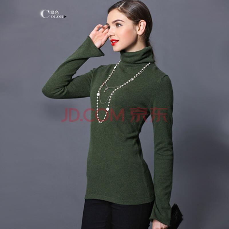 钦秀女士高领喇叭袖针织羊绒衫 墨绿色 xxl图片
