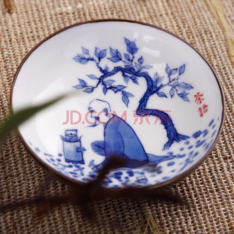 鼎公 景德镇陶瓷 手绘青花瓷功夫茶具 茶器茶杯套装 手绘人物品茗杯图片