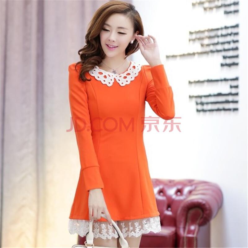安依轩2013新款秋冬连衣裙可爱娃娃领长袖蕾丝甜美公主裙 5011 橙色
