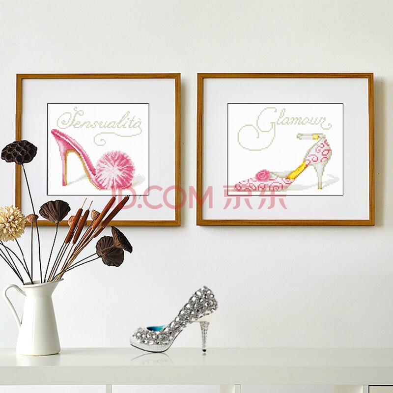 法国进口dmc十字绣套包 魅力花纹高跟鞋 14ct小格白布