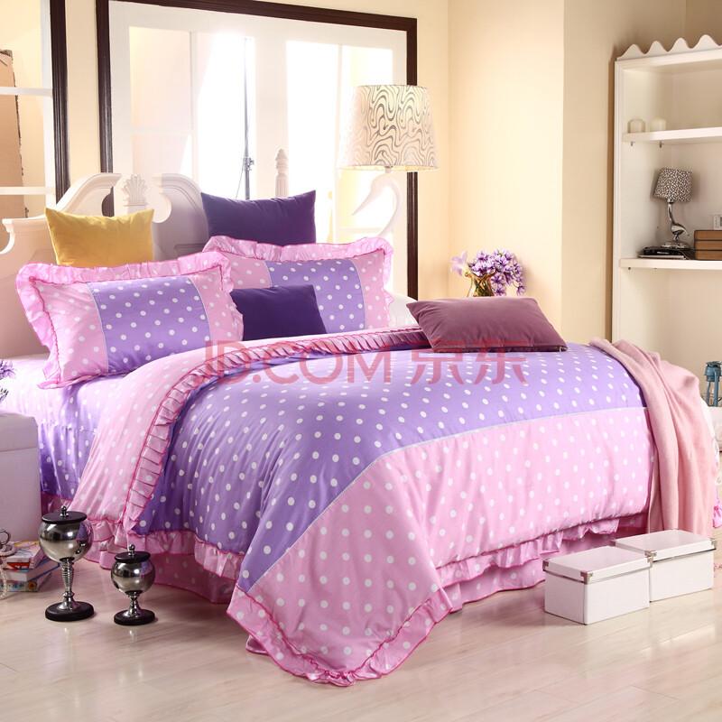 锐洁 婚庆床品家纺纯棉可爱公主韩版韩式花边四件套 点亮生活浅紫浅粉