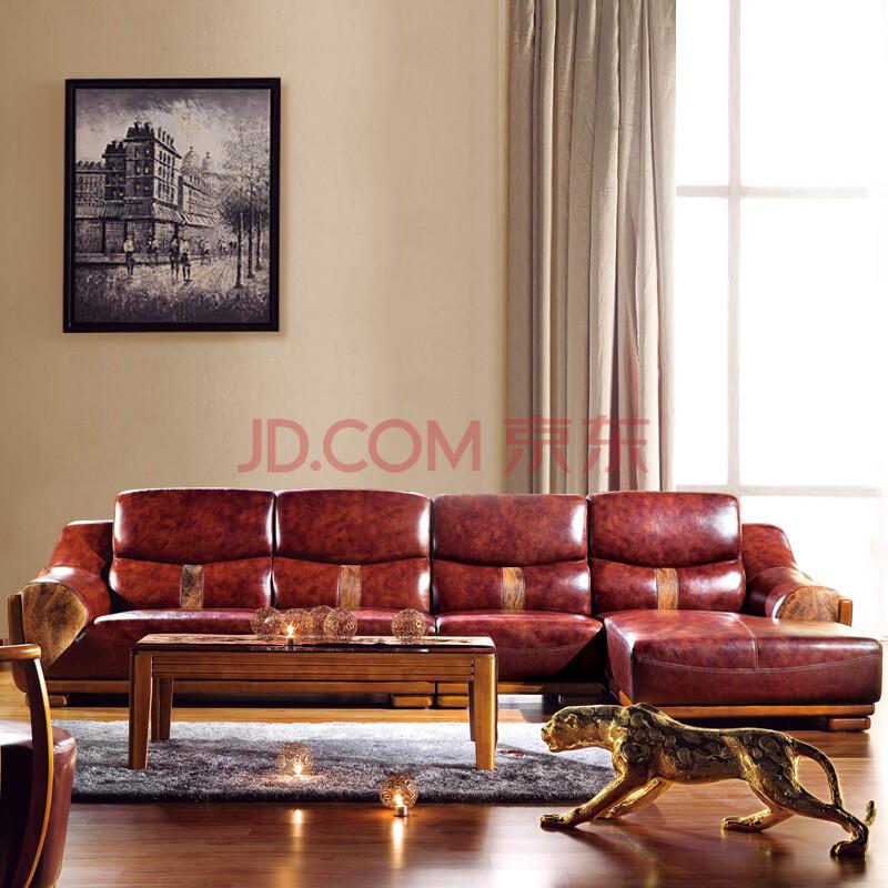 普上 转角沙发全实木真皮沙发组合客厅头层牛皮沙发现代中式实木皮图片