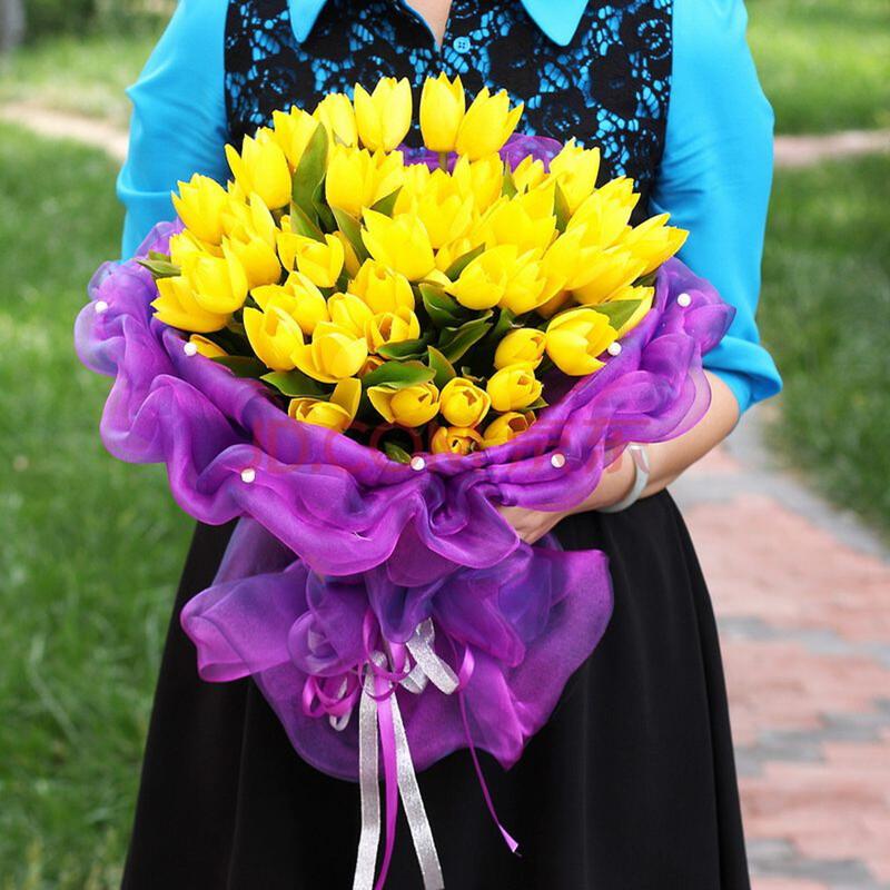 仿真花玫瑰花束 创意新娘手捧花 绢花假花家居装饰用品 生日礼物 f072