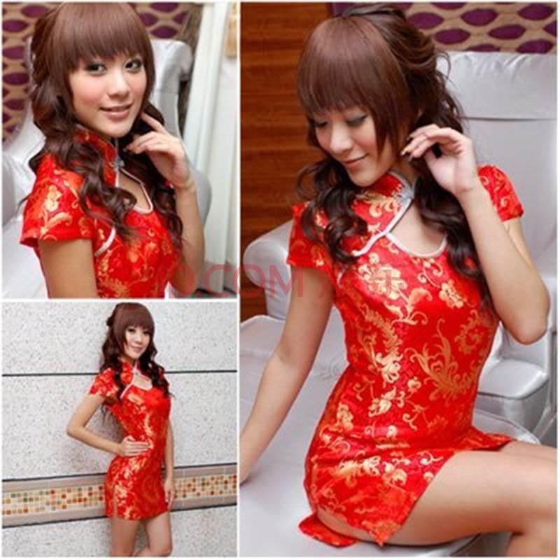 i-kissss 古典旗袍装 刺绣图案 中国风古典美女 上品气质旗袍 红色