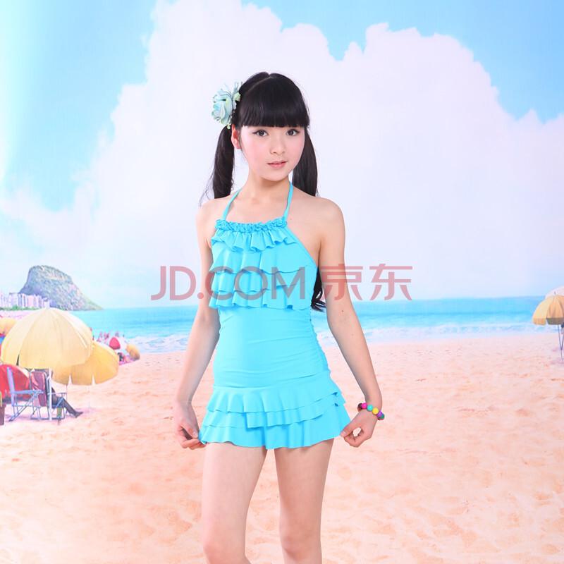 女童泳装泡温泉裙式连体平角大中童游泳衣