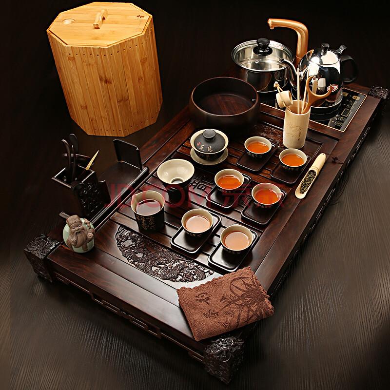 黑檀木茶盘 哥窑茶宠 茶道整套茶具 组合5龙凤黑釉盖碗002168
