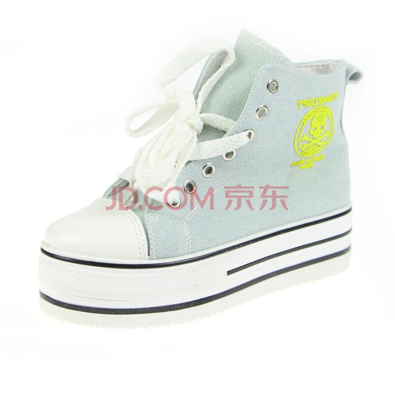 帆布鞋夏季女松糕跟厚底增高中帮时尚布鞋