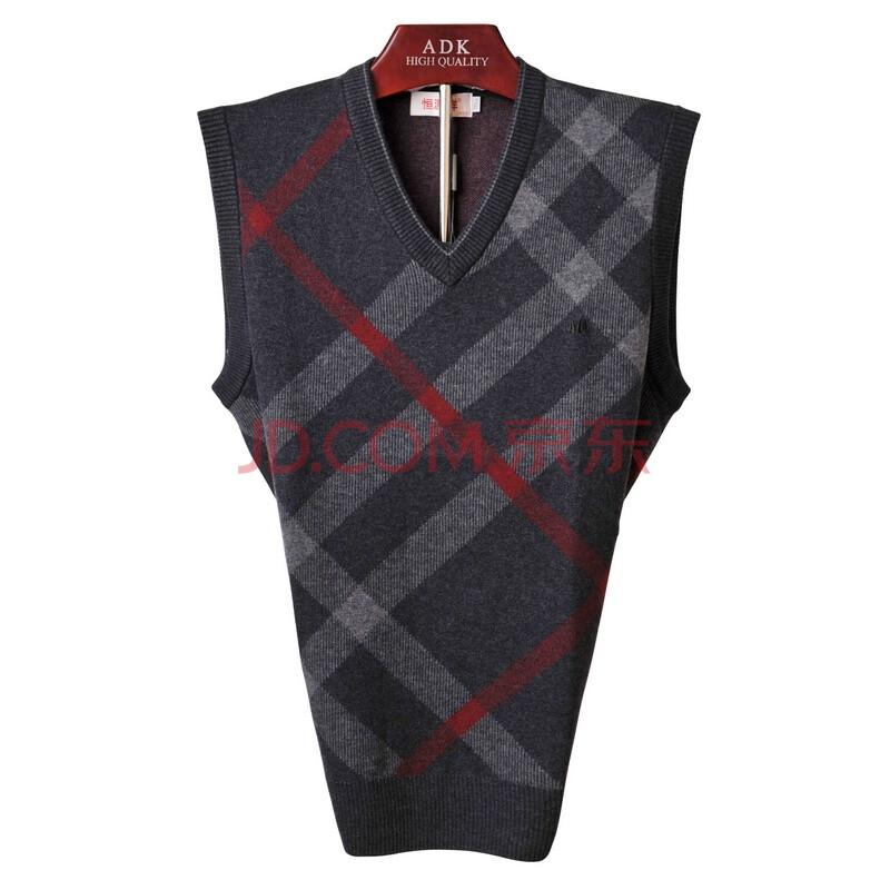 2013冬季新款恒源祥男士针织背心马甲毛衣男式羊毛男衫13057 灰色 120