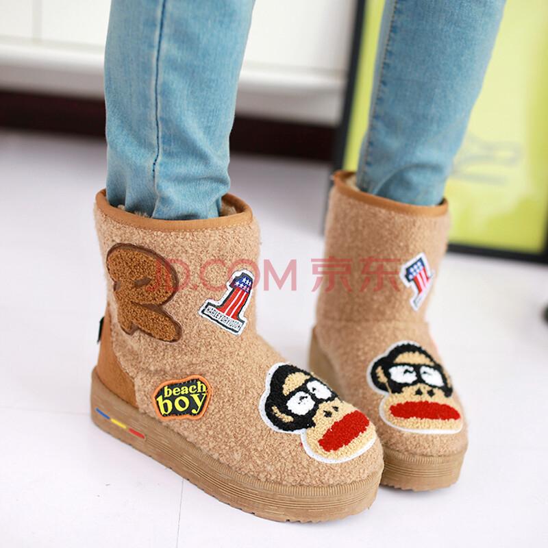 雪地靴女短靴厚底松糕鞋毛线靴卡通韩版雪地鞋女棉鞋
