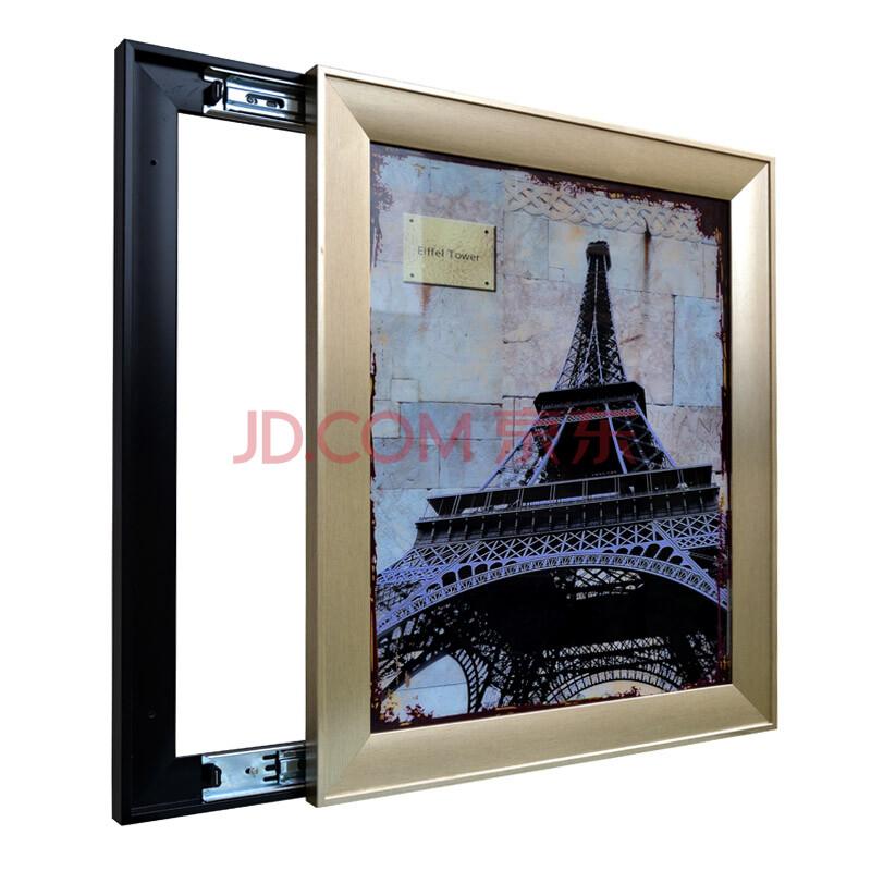 忆美特客厅电箱装饰画 推拉画 金色拉丝边框 竖款巴黎