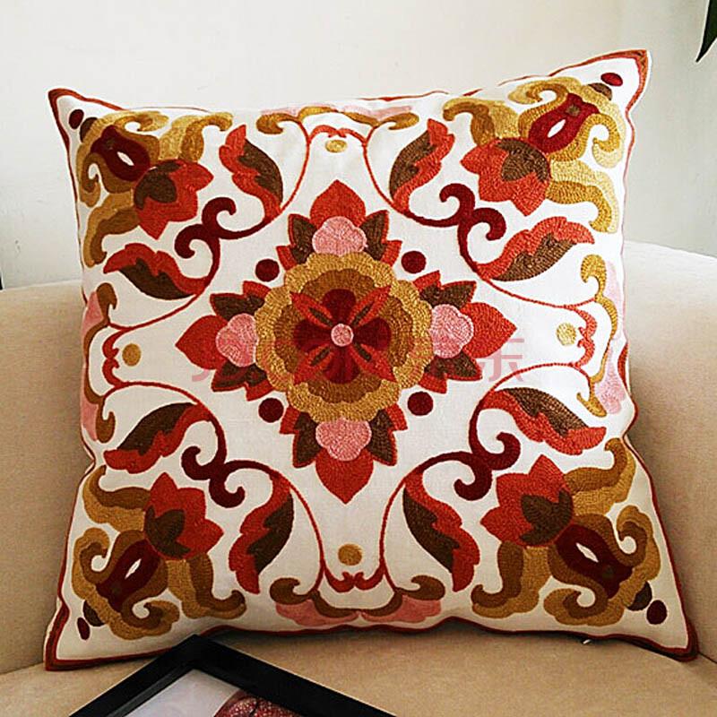 美式田园风格精品刺绣靠枕抱枕图片