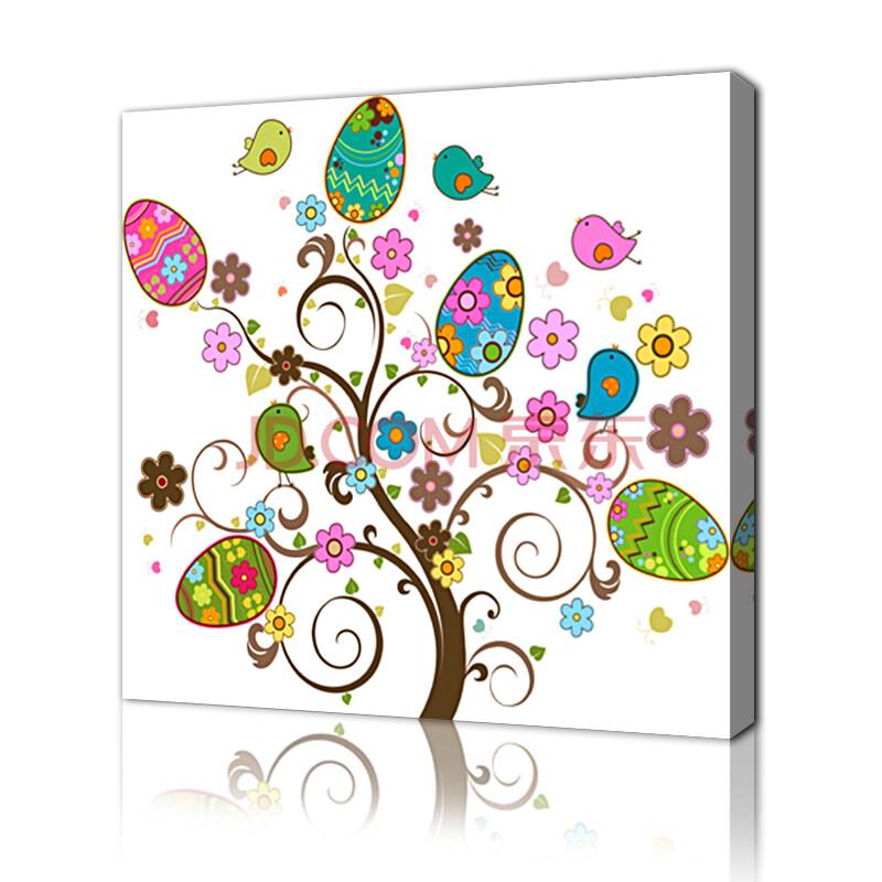 现代客厅装饰墙画版画 卧室小清新单幅挂画壁画 发财树幸福树 u款