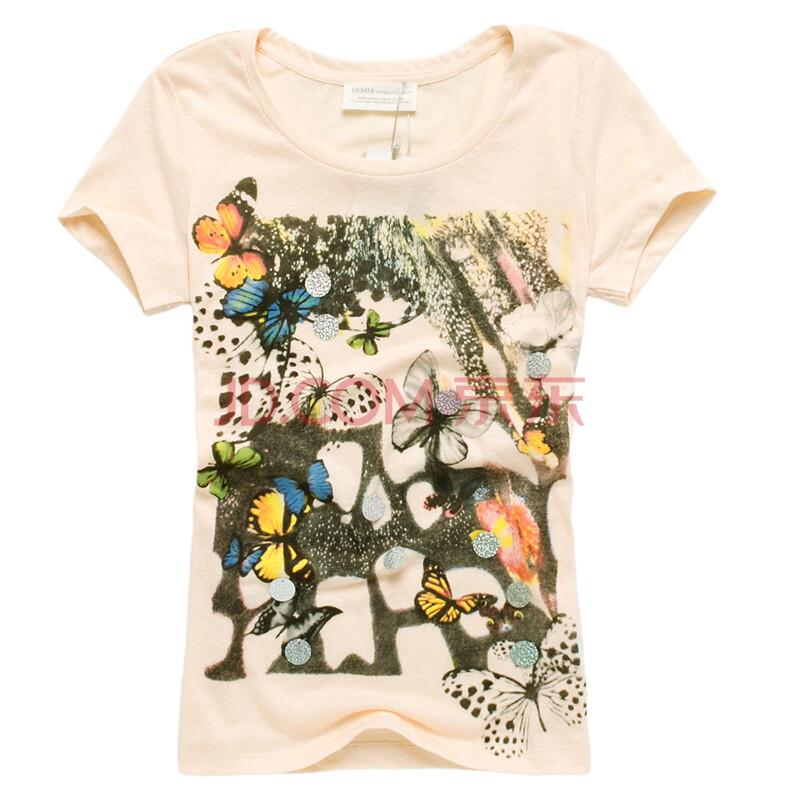 【森马】semir2013夏装新款女装蝴蝶印花圆领短袖t恤图片