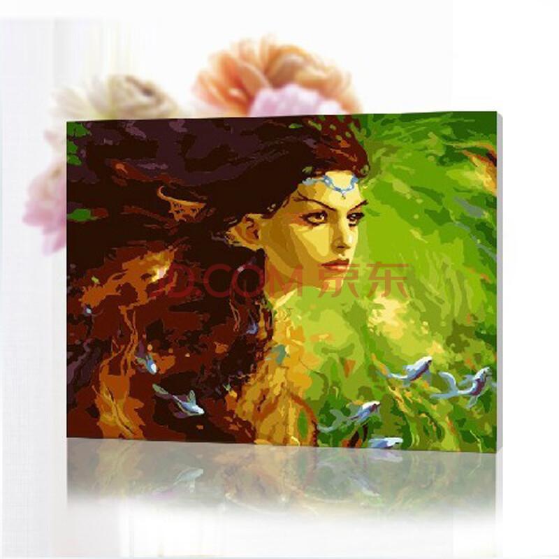 diy手绘数字油画 美人和鱼40*50cm带内框