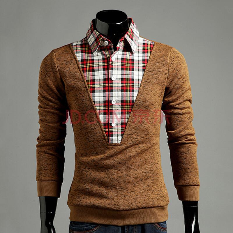 doavsng秋冬新款男士假两件衬衫领针织衫 男韩版修身时尚男士休闲毛衣