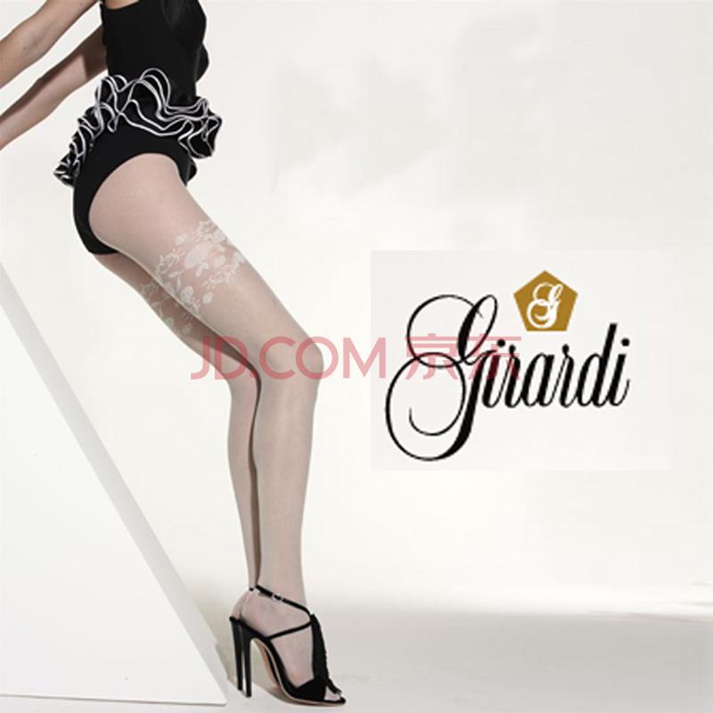 意大利girardi正品专柜奢华性感纯白色大腿花纹连裤袜女丝袜 黑色 m