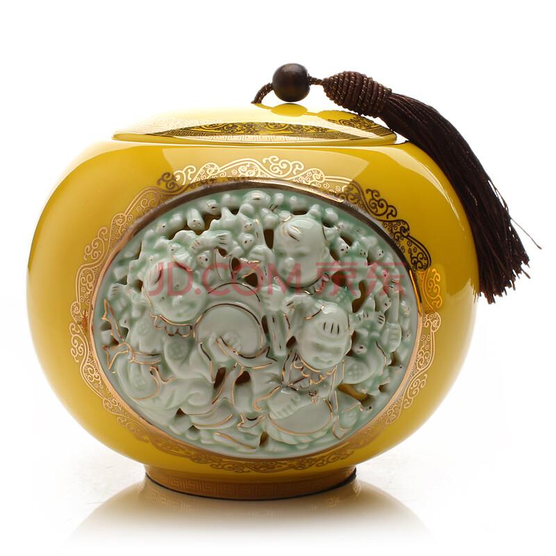 大号红釉陶瓷茶叶罐 手绘茶仓