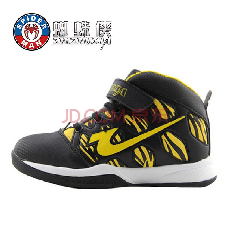 新款蜘蛛侠男童中童高帮护踝篮球鞋橡胶耐磨保暖运动