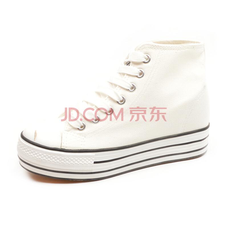 平跟系带厚底女布鞋纯色松糕女单鞋q115
