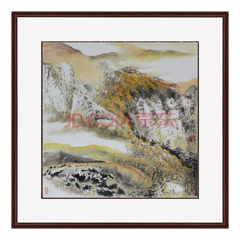 锦翰堂 手绘国画字画书画有框画 山水《秋岭人家》95*