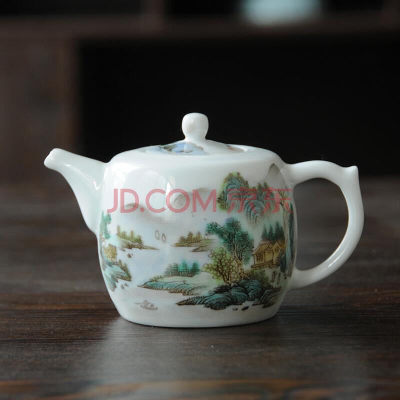 怡品堂陶瓷茶壶 景德镇茶具 手绘粉彩茶具山水如意壶