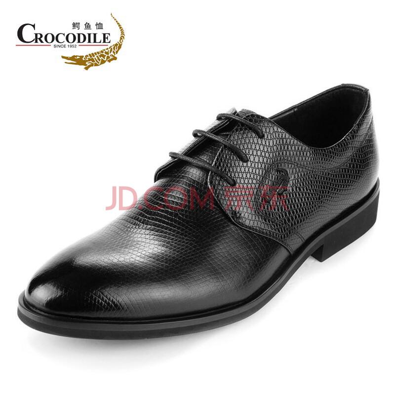 春款男鞋 鳄鱼恤高档牛皮商务正装皮鞋系带真皮男鞋子 单鞋WA1349050-1 黑色 41偏大一码