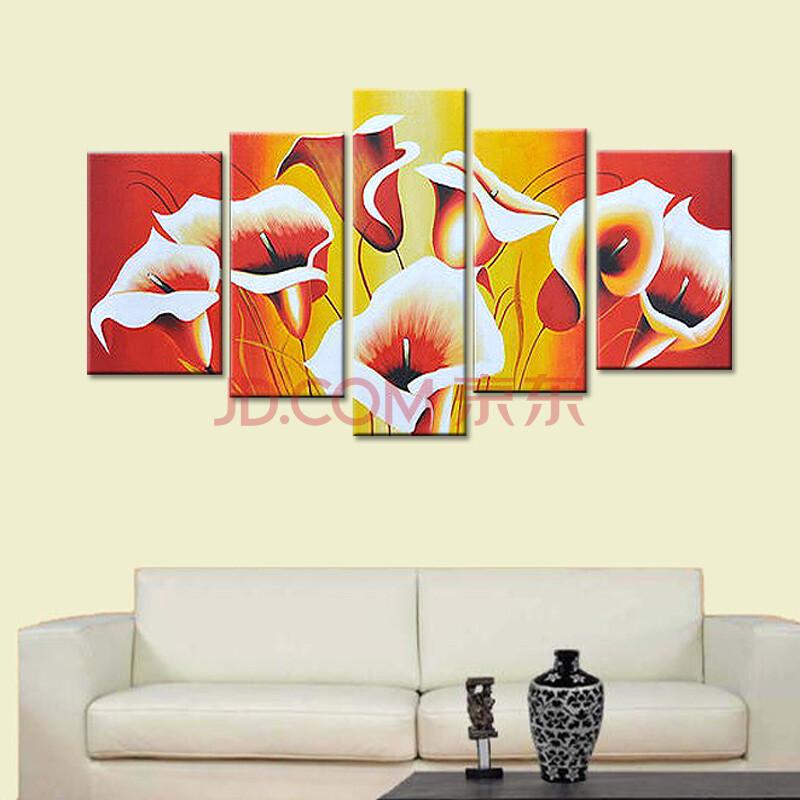 乐逸 客厅手绘油画装饰画现代简约挂画壁画墙画 百年好合 百合花 总长