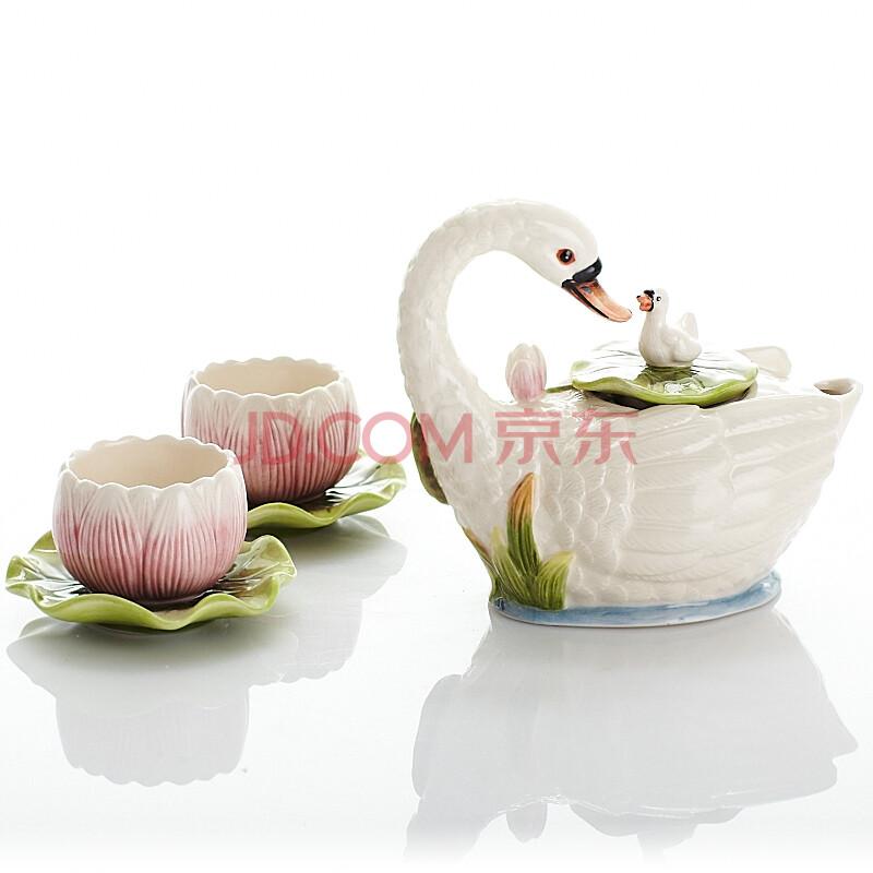 出口手绘陶瓷功夫茶具咖啡壶情人节礼品咖啡杯茶杯组合岸芷天鹅湖