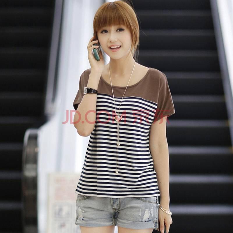 货到付款 2014夏装新品韩版女装时尚甜美条纹拼色修身显瘦纯棉圆领短袖T恤 N512