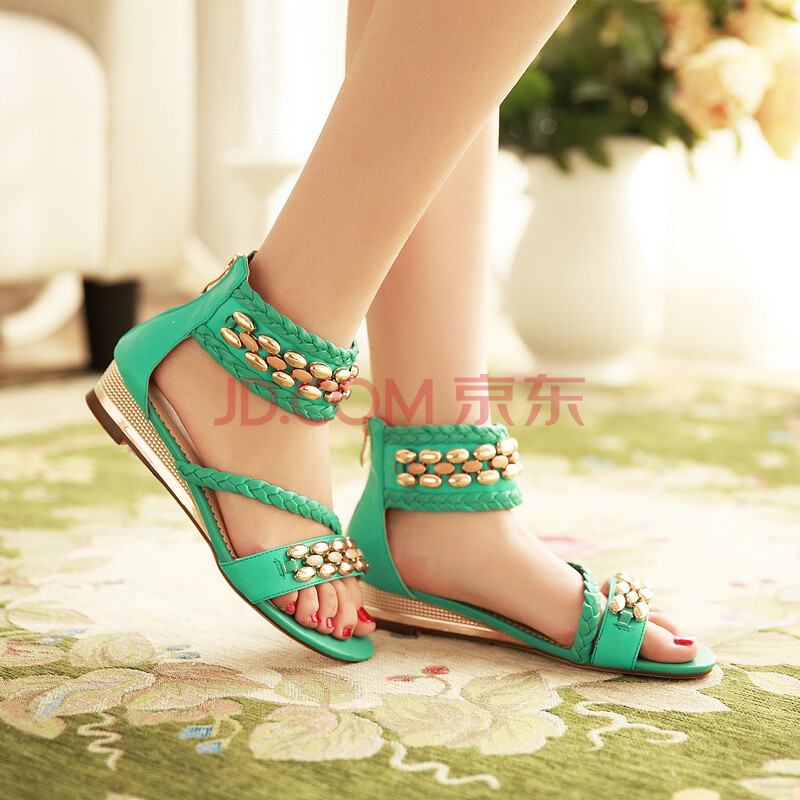 KBQ夏季新款凉鞋女平跟低跟鞋平底罗马休闲沙滩鞋