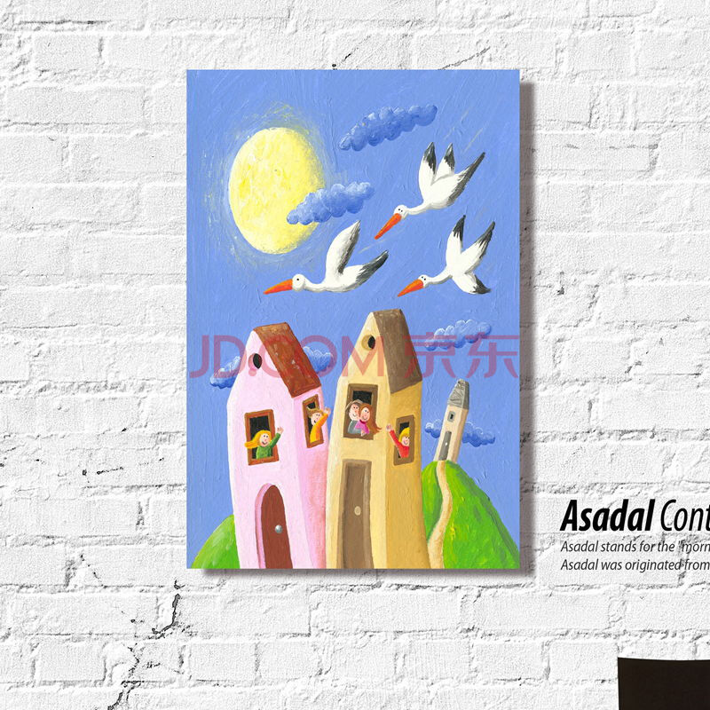 幼儿园教室音乐室活动室帆布墙壁挂画油画水彩油彩画